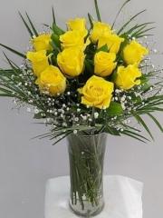 Vazoda 12 Adet Sarı Gül